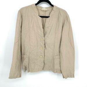 Eileen Fisher 100%Linen Three Button Blazer Jacket